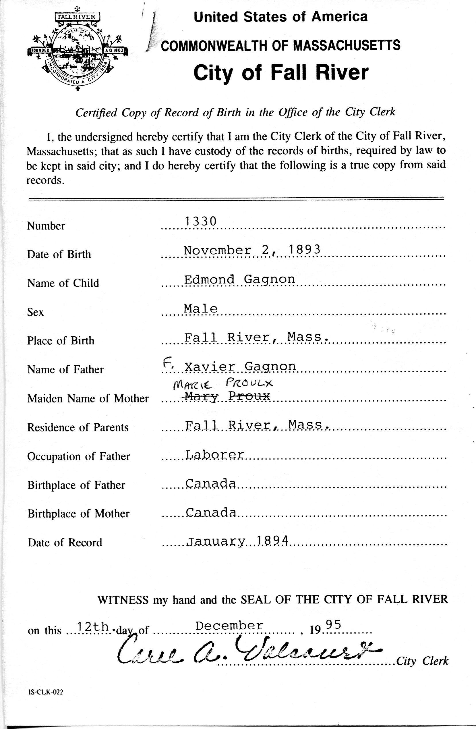 birth certificates fall river massachusetts