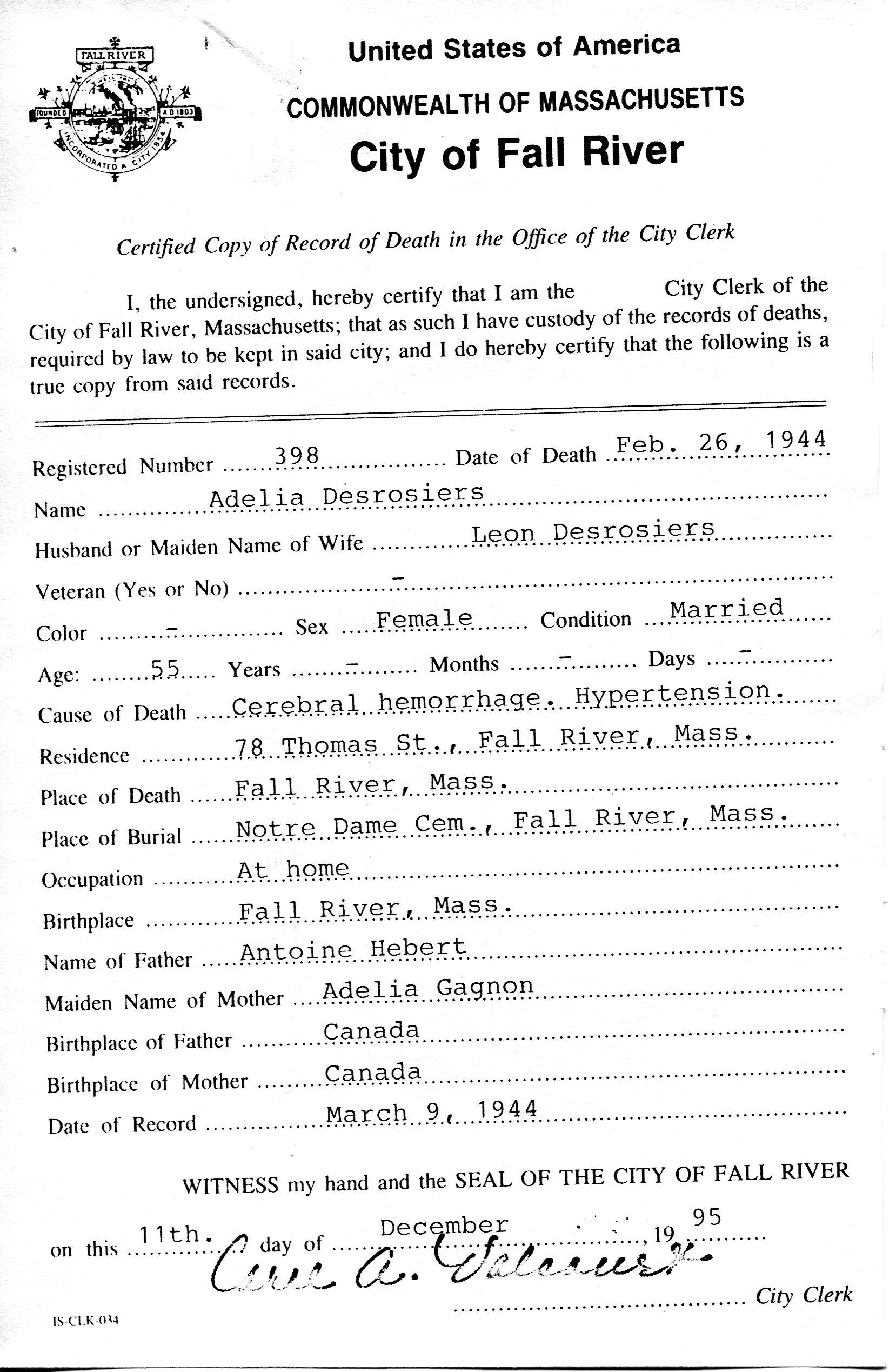 Marc desrosiers family tree short version death certificate xflitez Image collections